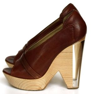 Chloé Wedge Sandals with Wood and Plexi Heel